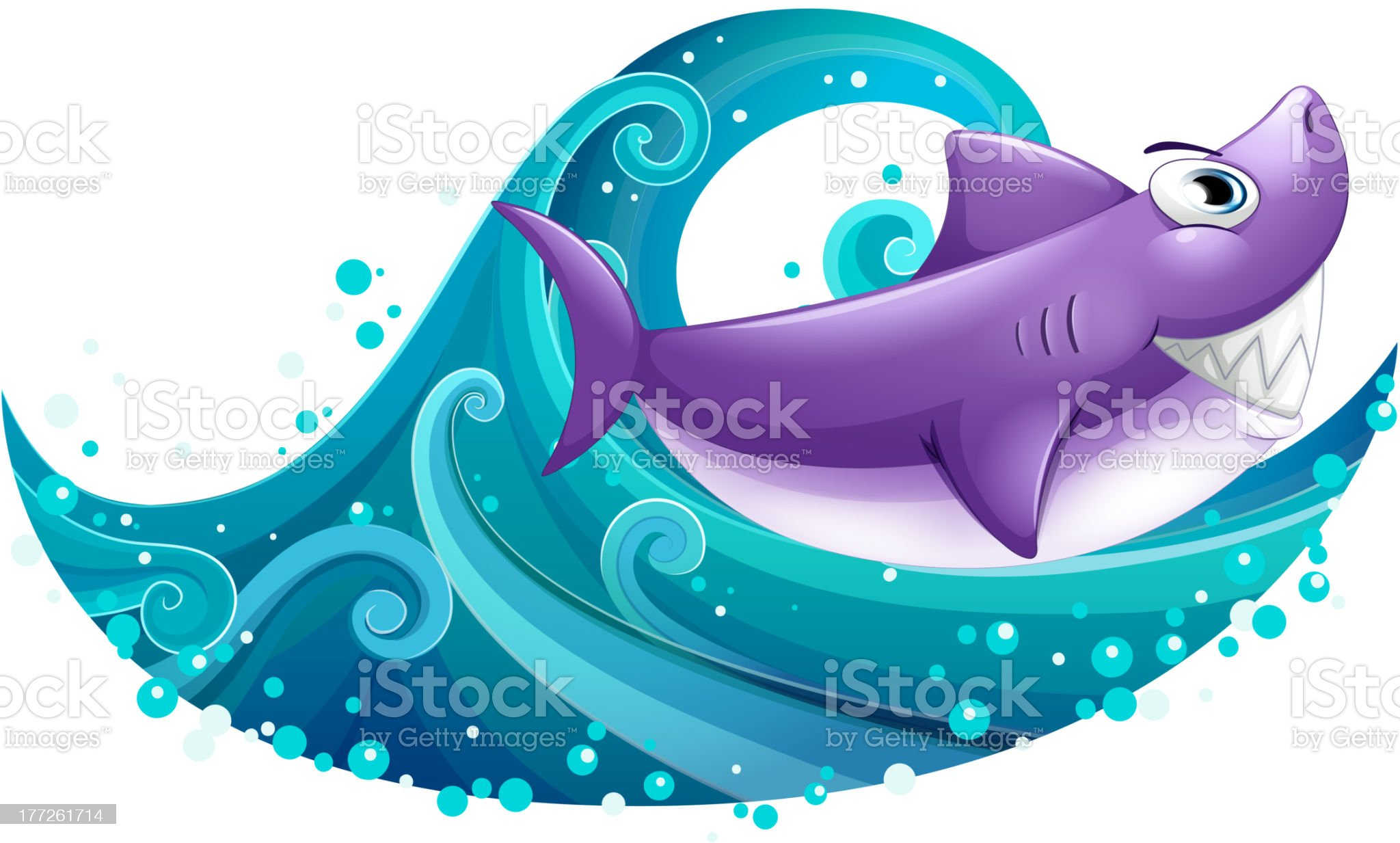 Big wave with a shark royalty-free stock vector art