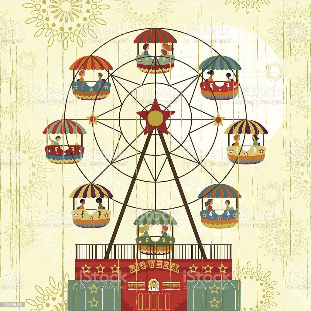 Big Wheel fair vector art illustration