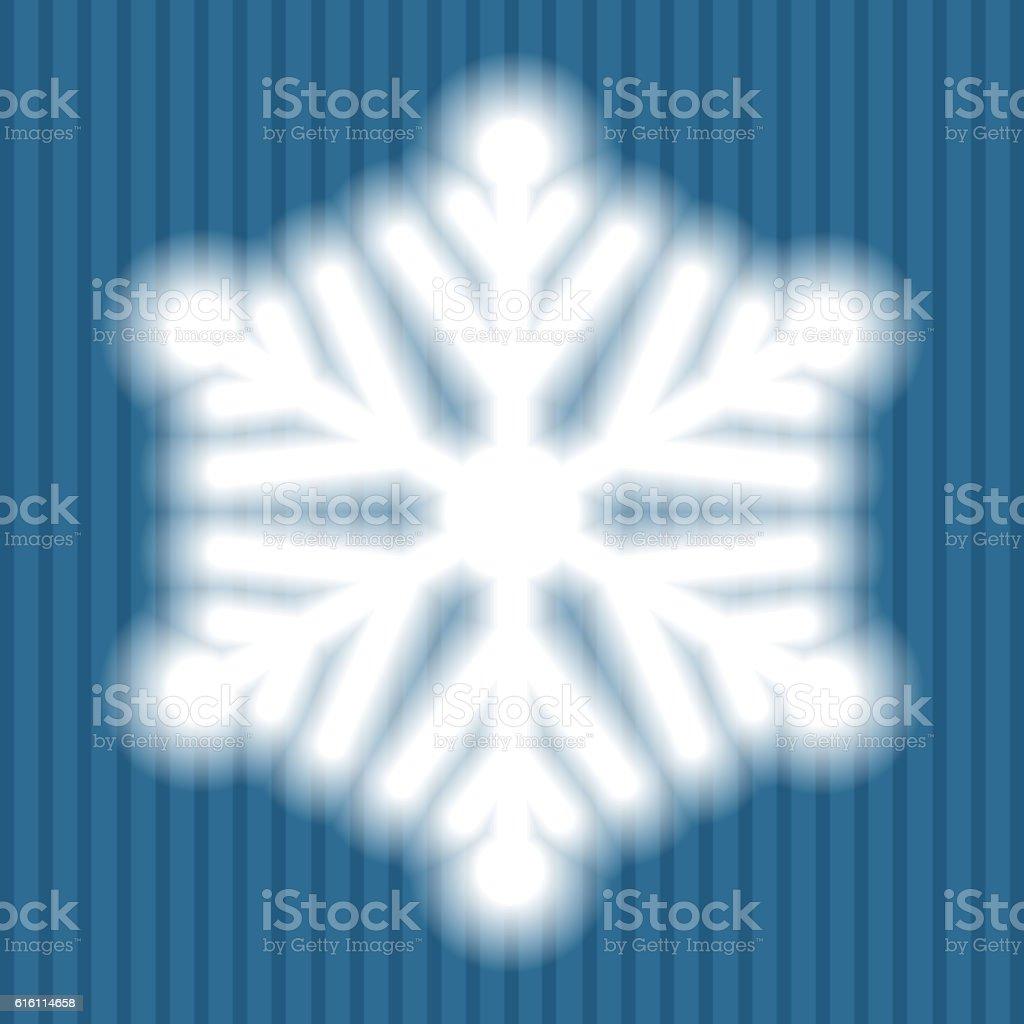 Big white snowflake with soft translucent edges vector art illustration