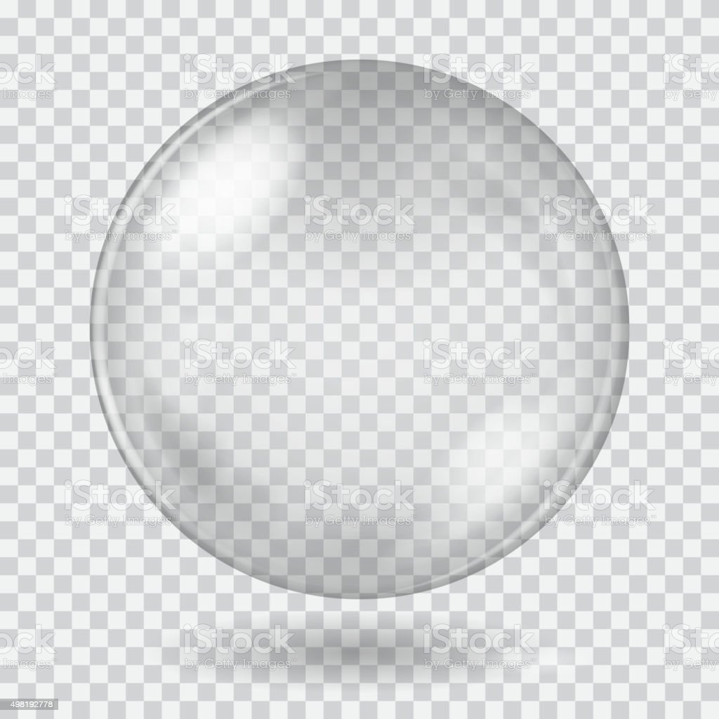Big white transparent glass sphere. Transparency only in vector vector art illustration