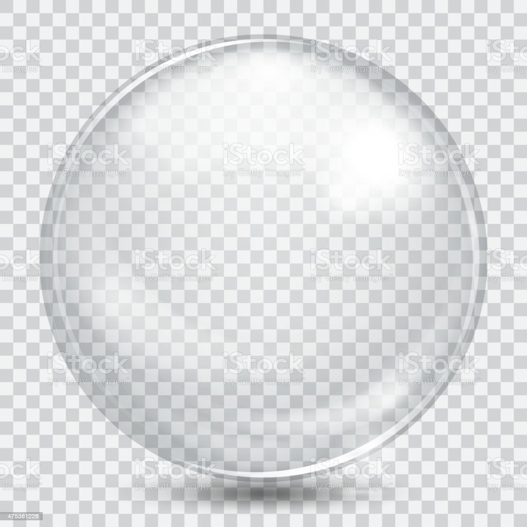 Big white transparent glass sphere vector art illustration