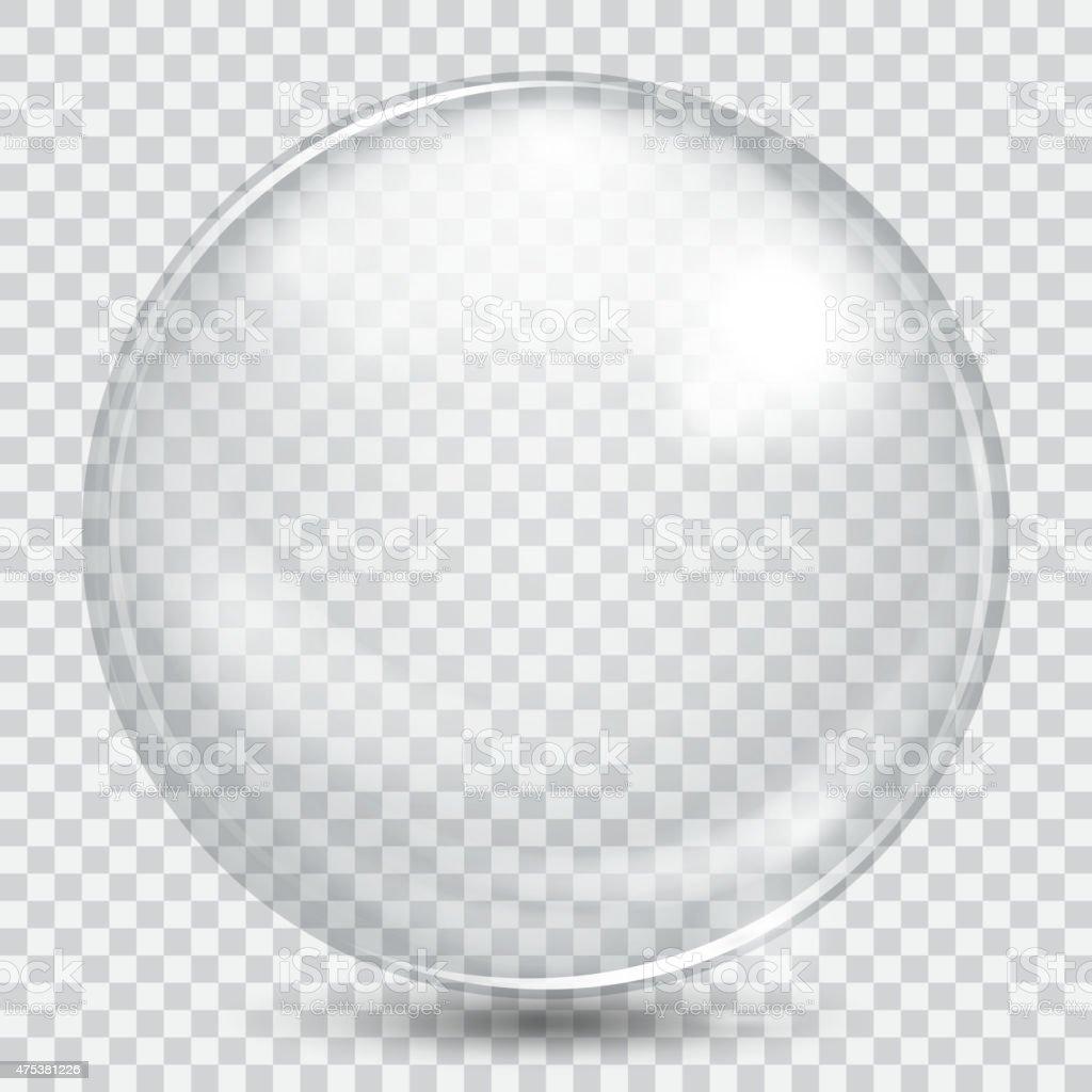 Big white transparent glass sphere vector art illustration