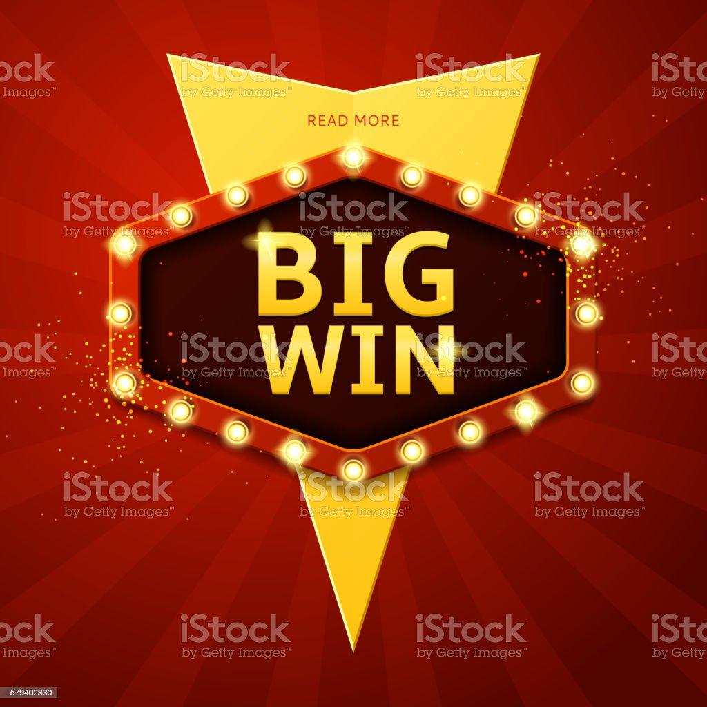 Big win retro banner royalty-free stock vector art