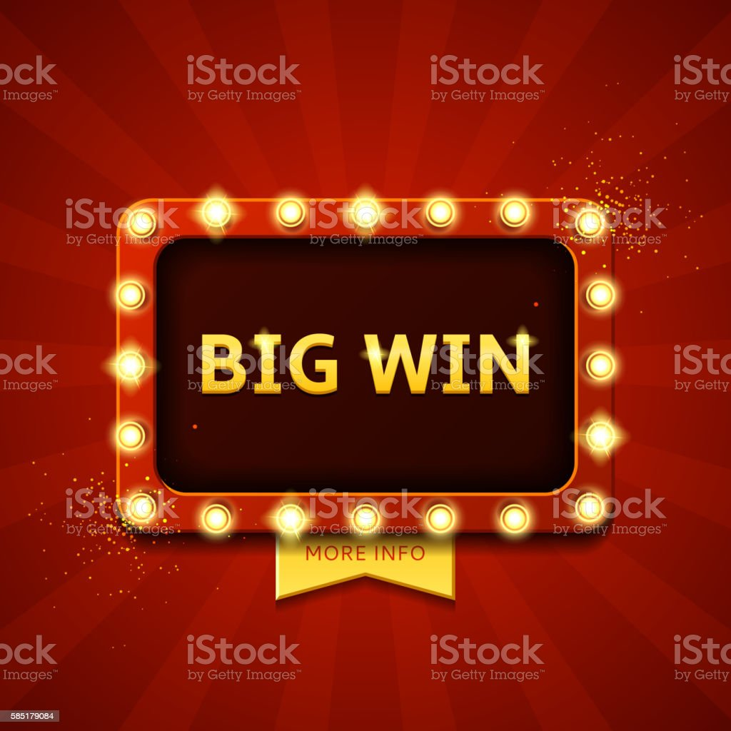 Big win retro banner with glowing lamps royalty-free stock vector art