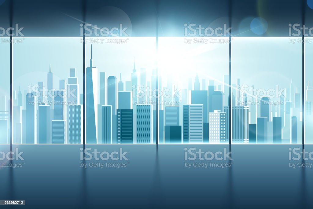Big window with views of city vector art illustration