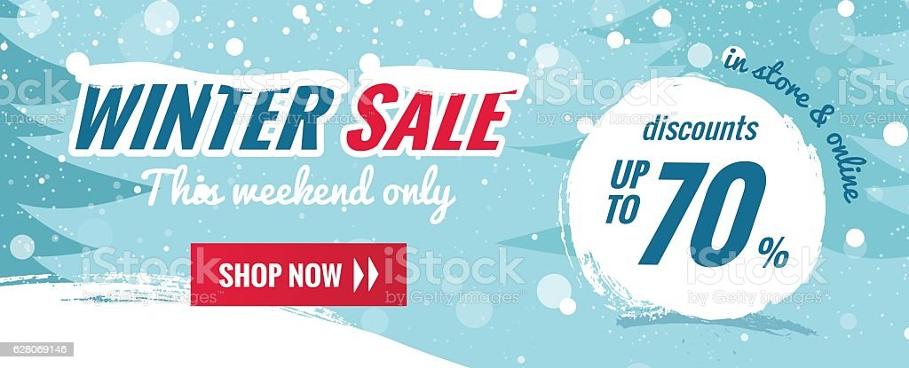 Big winter sale horizontal banner. Snowy background with winter landscape. vector art illustration