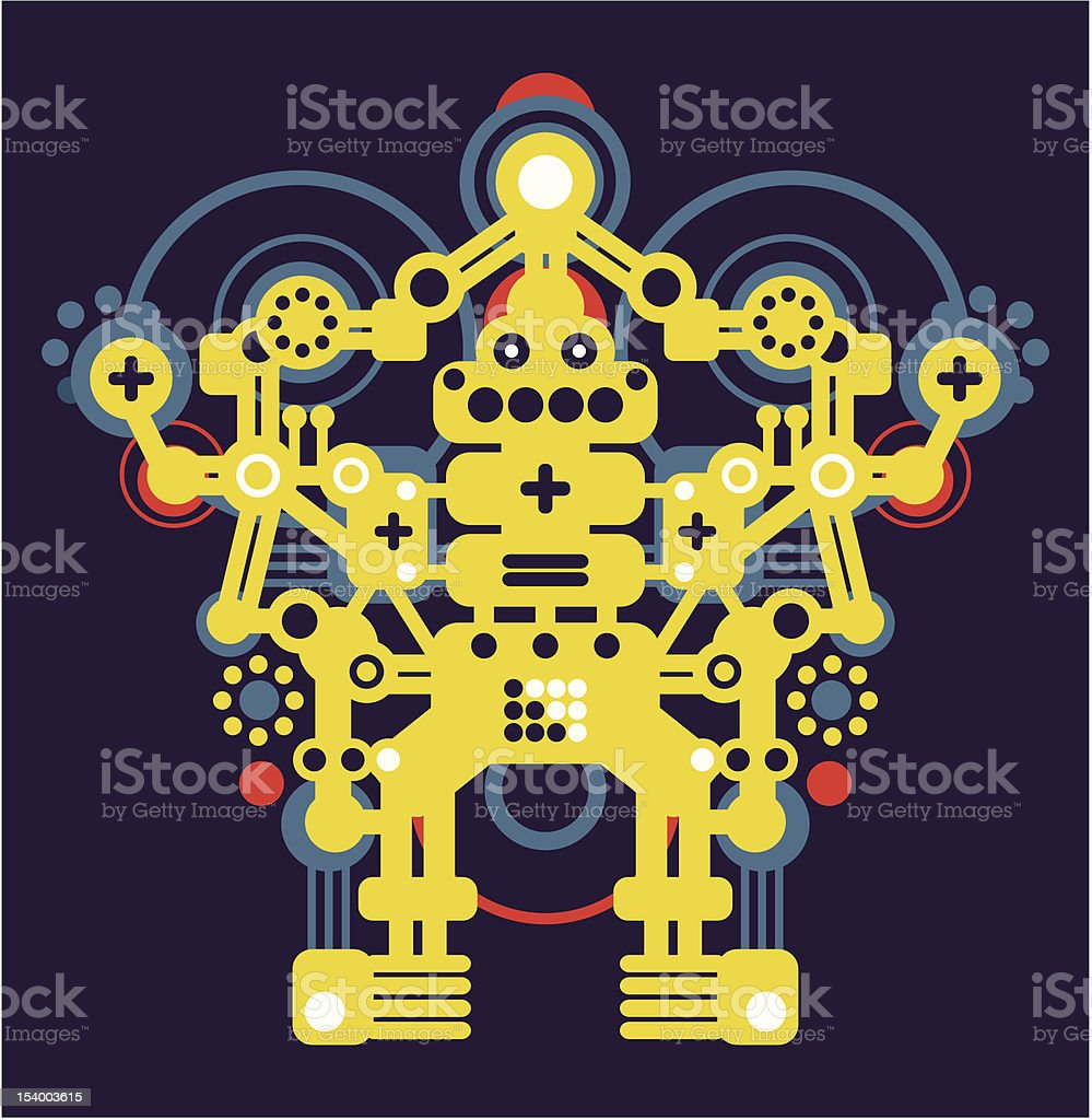 Big yellow robot. vector art illustration
