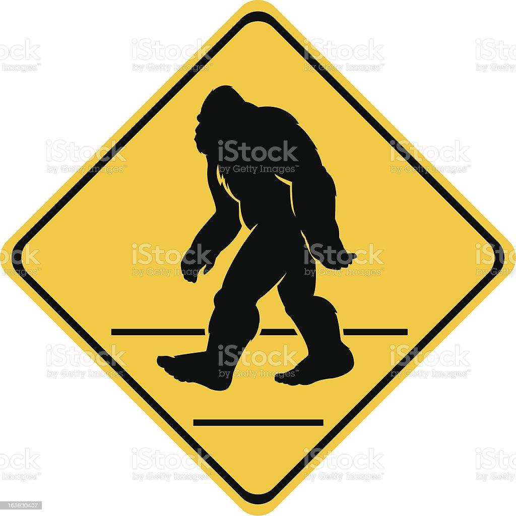bigfoot crossing sign vector art illustration