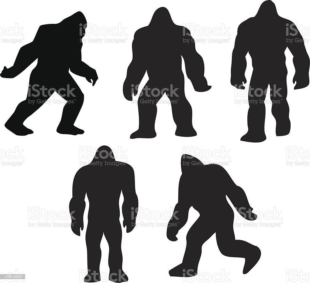 Bigfoot grouping vector art illustration