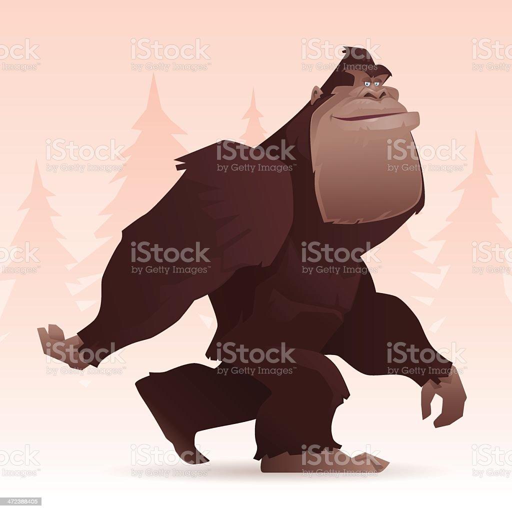 bigfoot walking vector art illustration