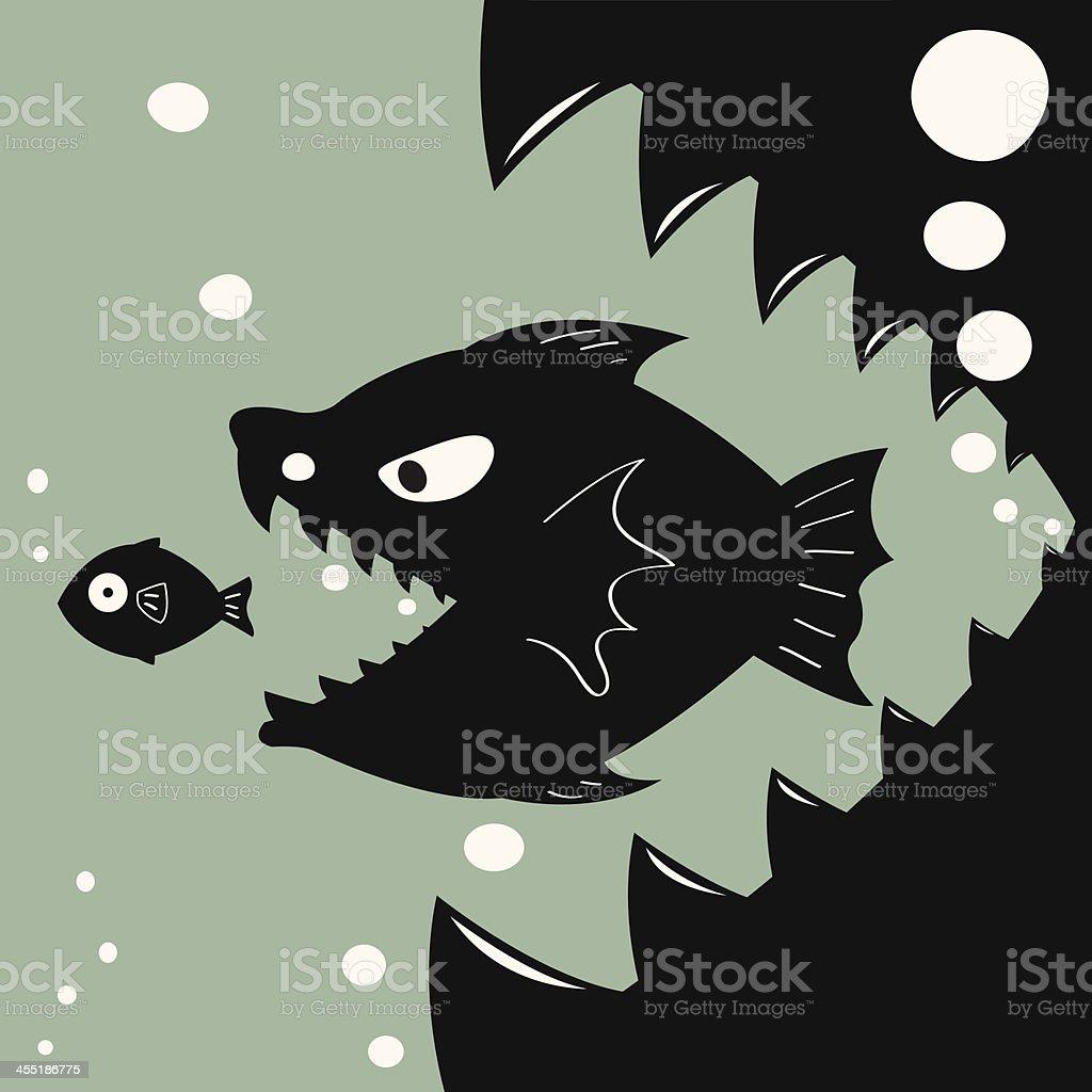 Bigger eat smaller vector art illustration