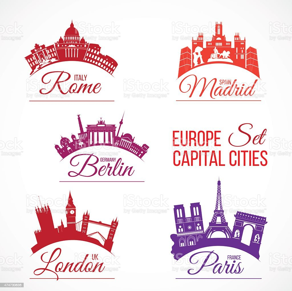 Biggest Europe capital cities vector art illustration
