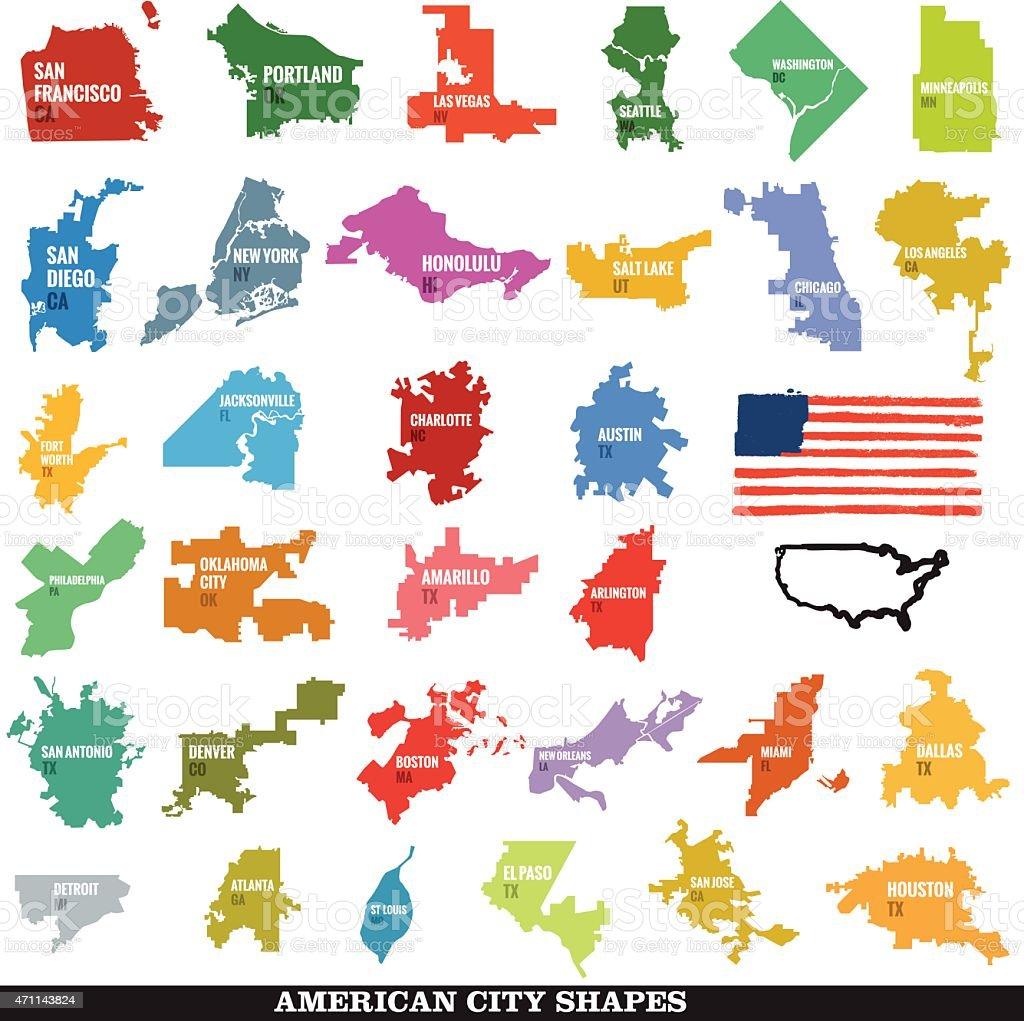 Biggest US City Shapes vector art illustration
