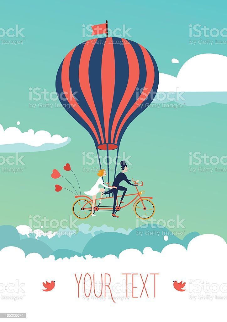 Bike above the clouds vector art illustration