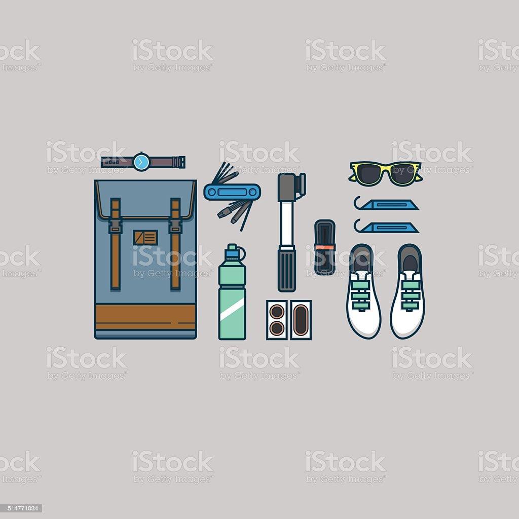 Bike accessories vector art illustration