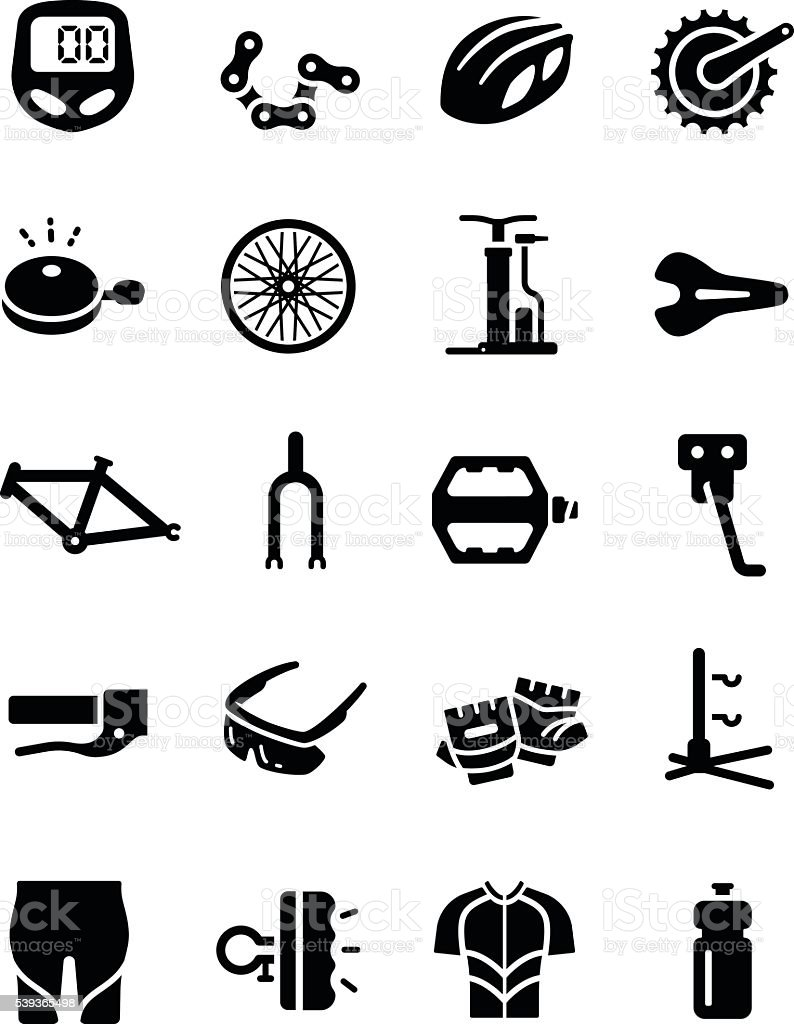 Bike Cycling Part Equipment Clothes Vector Icon vector art illustration