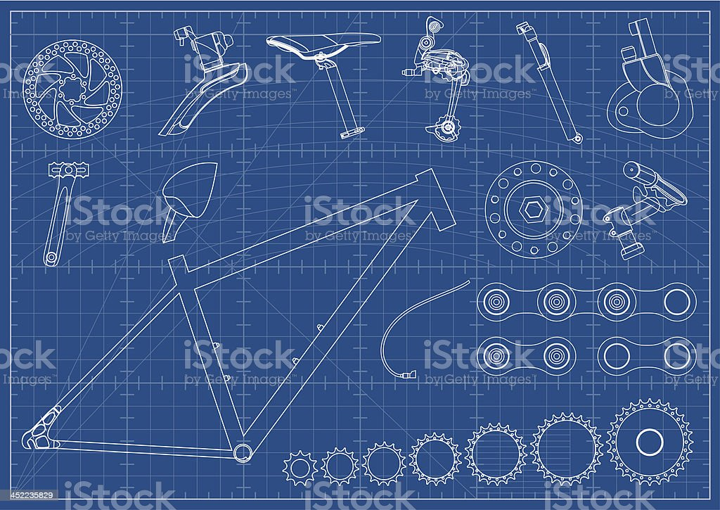 Bike Equipments Blueprints vector art illustration