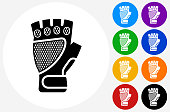 Bike Glove Icon on Flat Color Circle Buttons