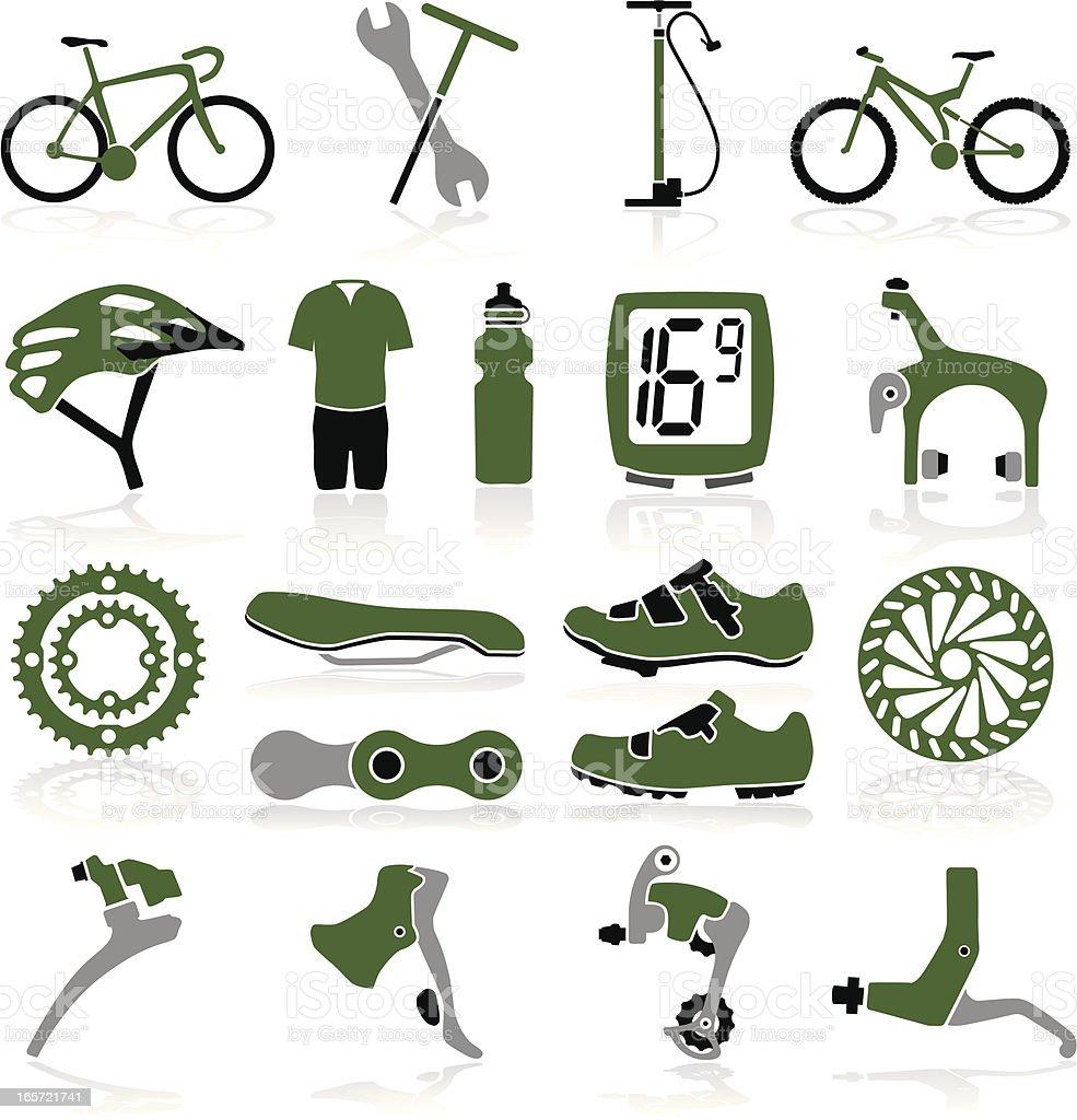 Bike Icons vector art illustration