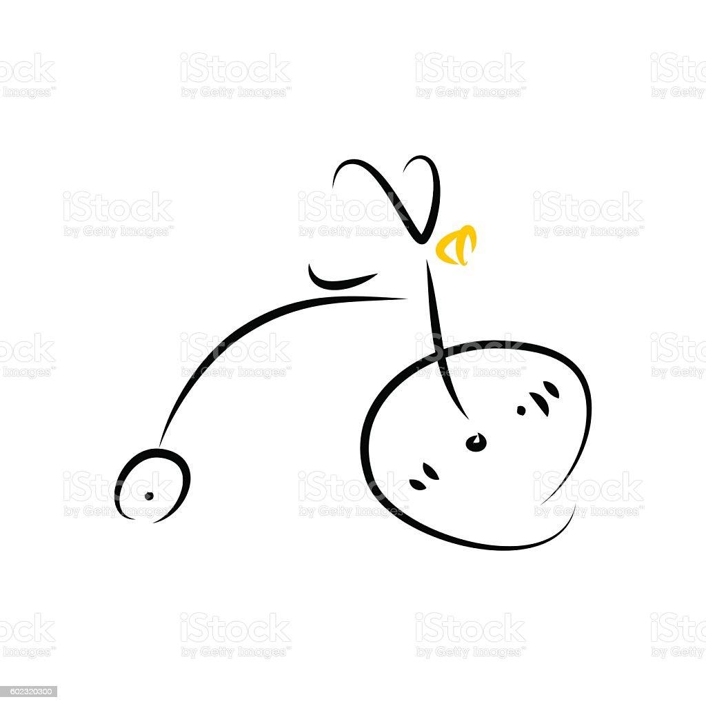 Bike on a White Background vector art illustration