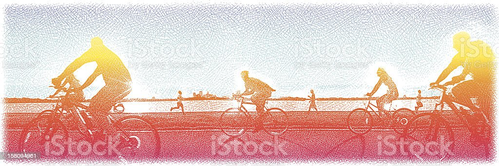 Bike Path and Lake On Summer Day vector art illustration