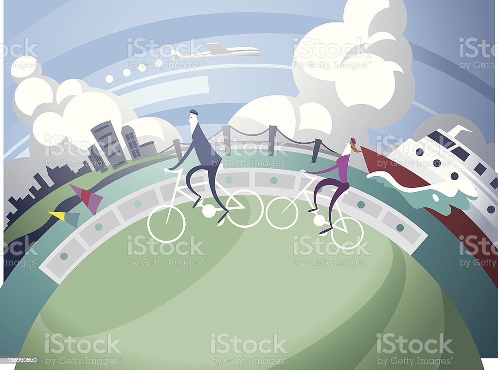 Bike ride in the bay area royalty-free stock vector art