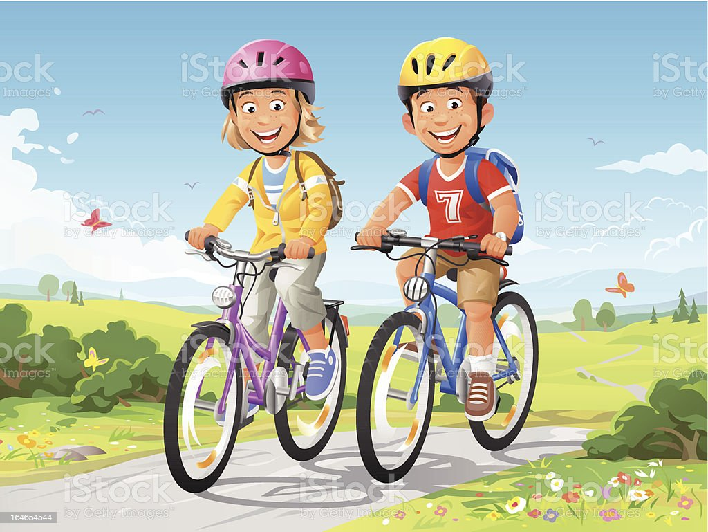 Bike Ride vector art illustration