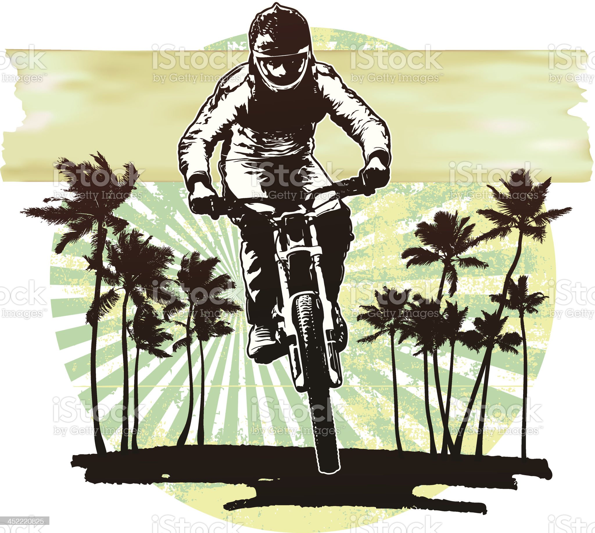 bike rider with grunge summer background royalty-free stock vector art