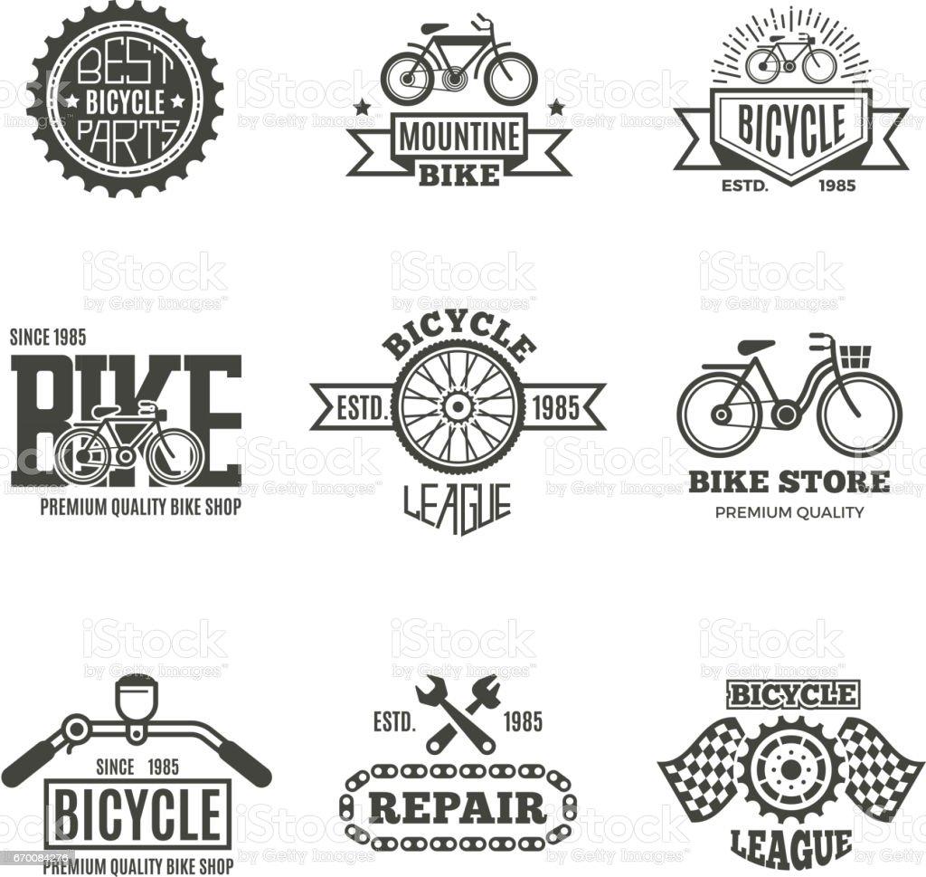 Bike shop, bicycle, biking vintage vector labels, icon, badges and emblems vector art illustration