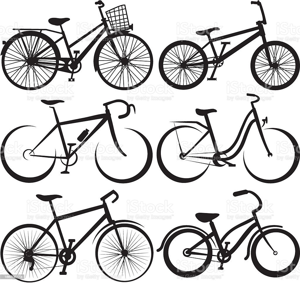 bike - silhouette and the outlines vector art illustration