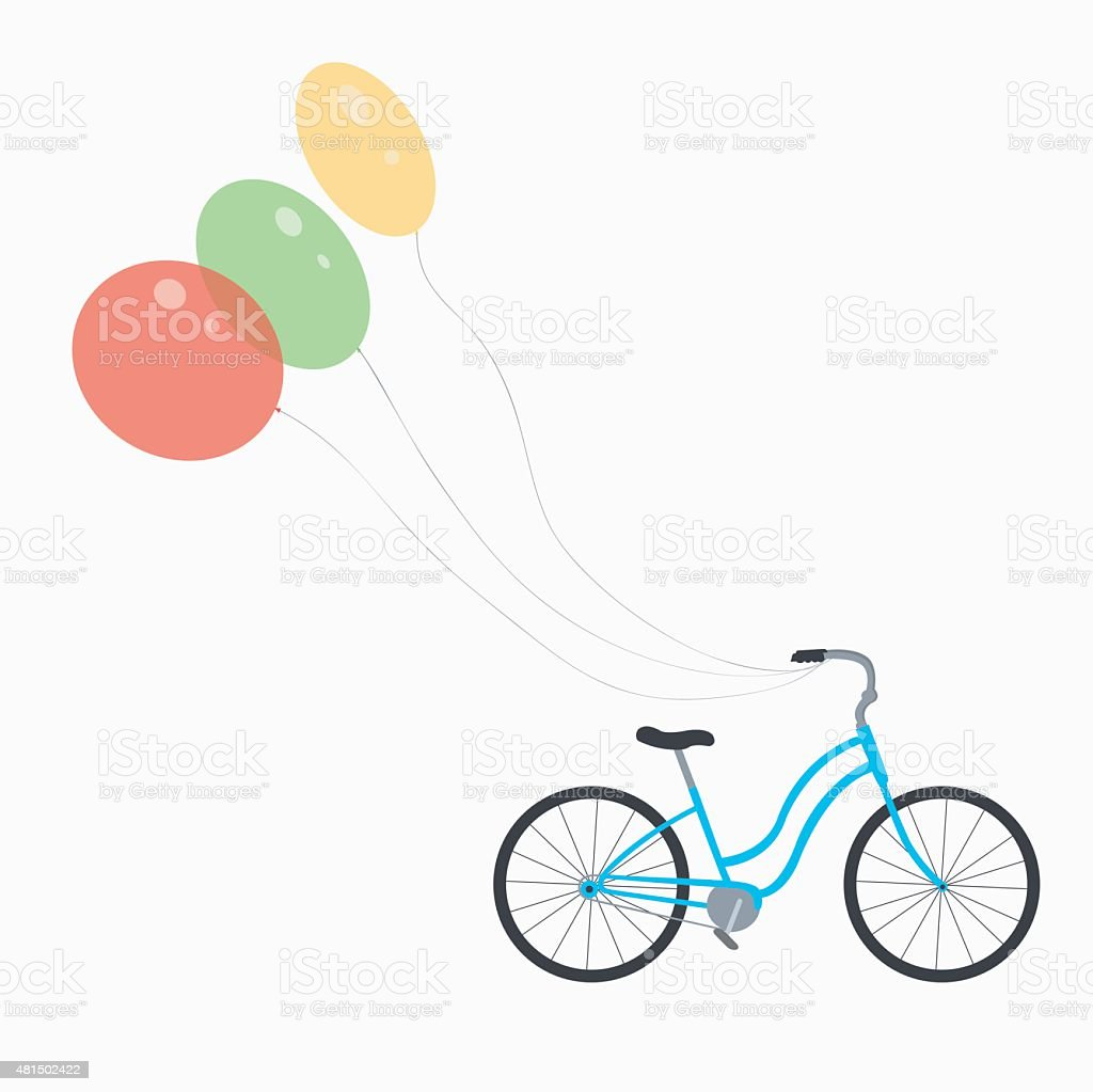 bike with balloons royalty-free stock vector art