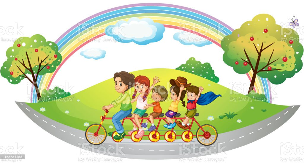 Bike with many pedals and wheels royalty-free stock vector art