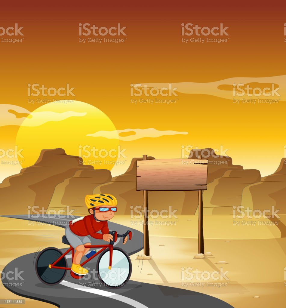 biker at the desert with an empty signboard royalty-free stock vector art