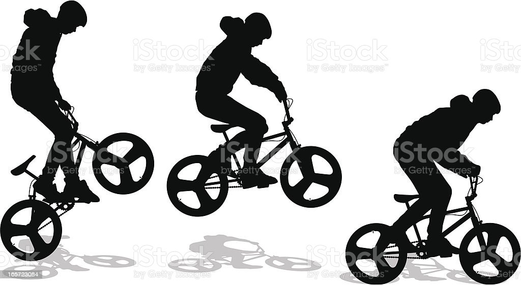 BMX Biker Doing A Bunny Hop vector art illustration