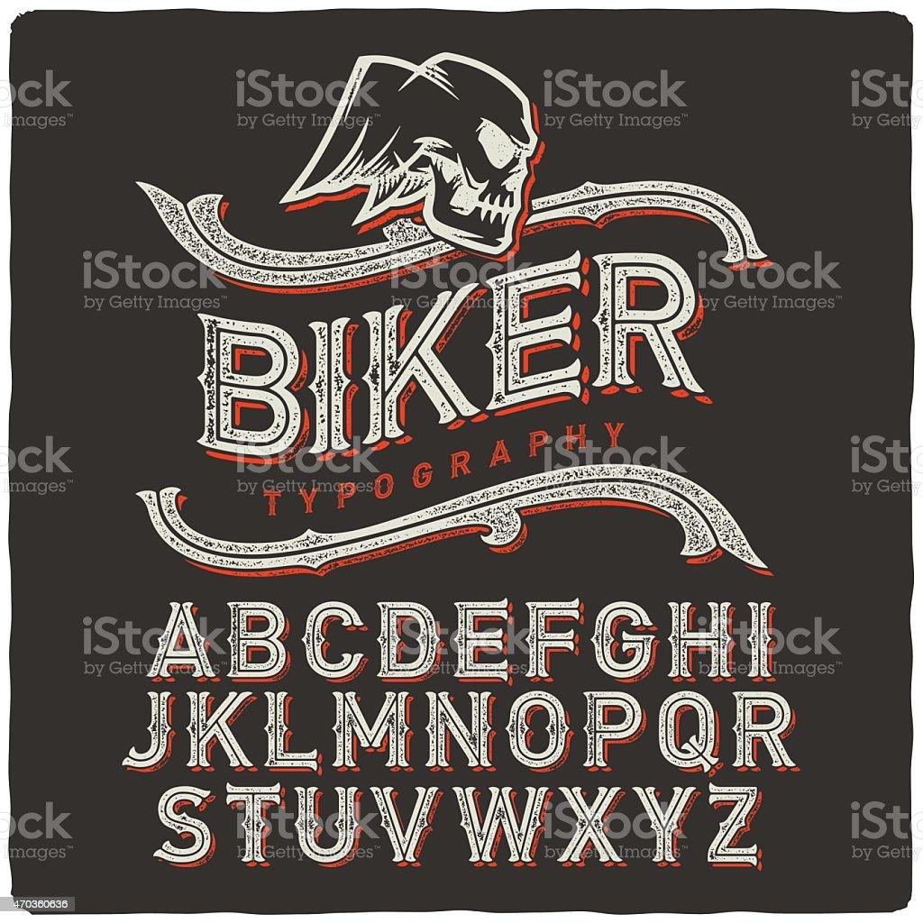 Biker Font vector art illustration