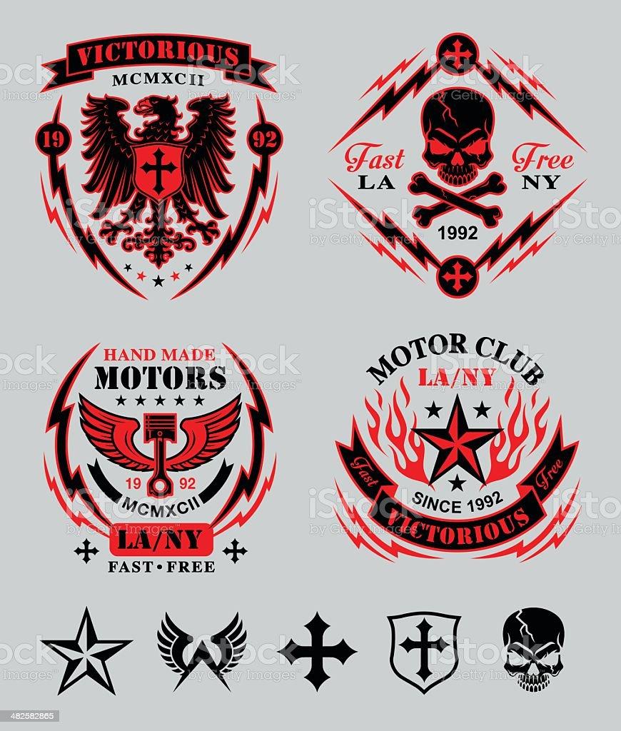 Biker patches emblem set vector art illustration