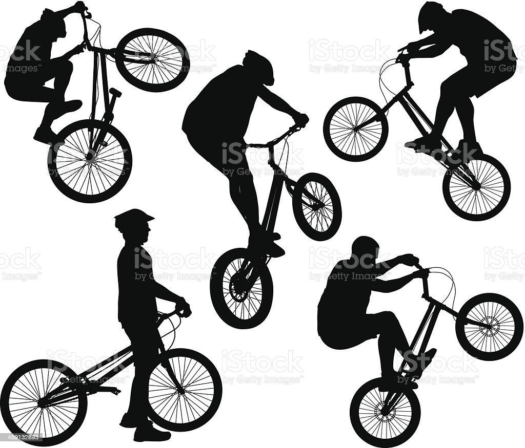 Biker silhouettes set vector art illustration