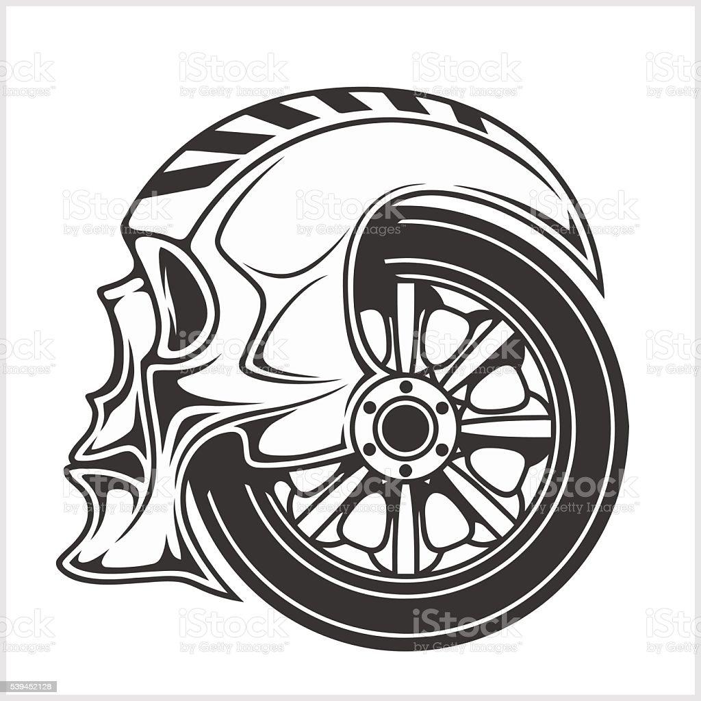 Crane Wheel Clip Art : Biker skull racing symbol stock vector art istock