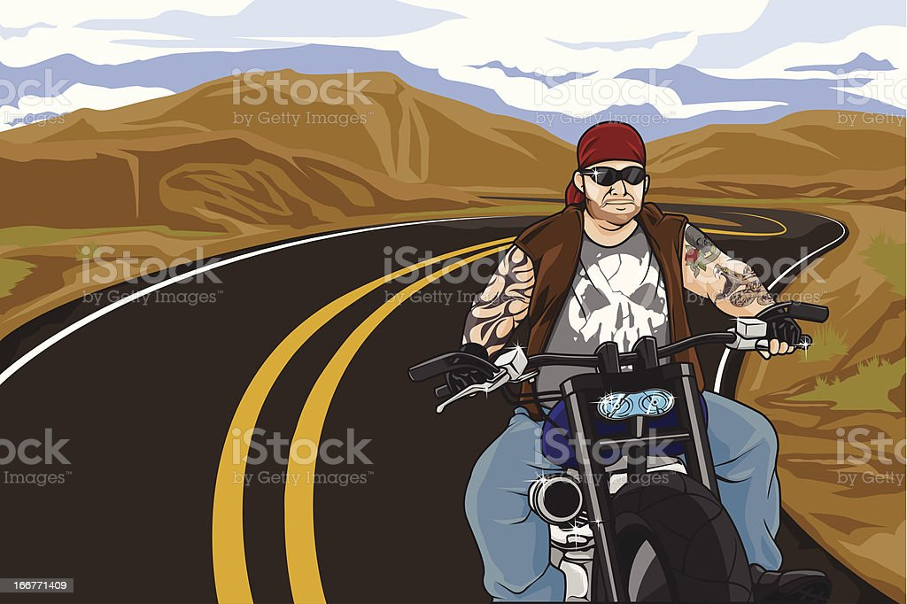 Biker with tattoo royalty-free stock vector art