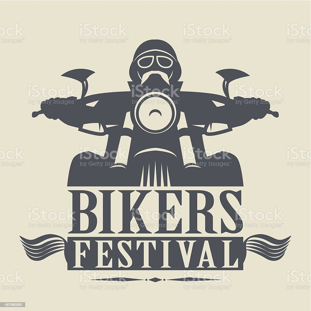 Bikers Festival label vector art illustration