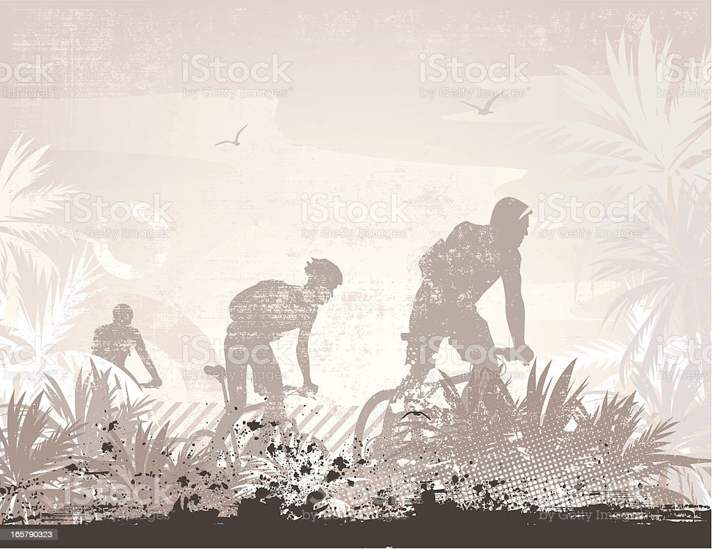 Bikers in tropical landscape royalty-free stock vector art