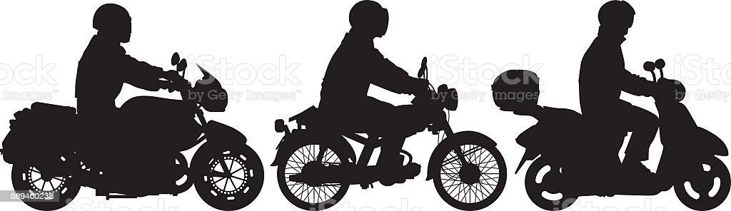 Bikers vector art illustration