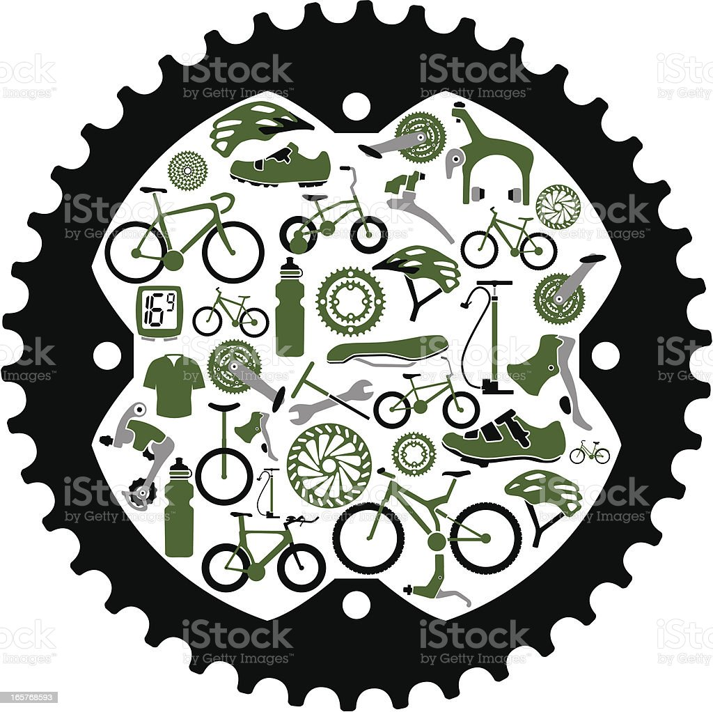 Bikes and Bike Parts Inside a Gear vector art illustration