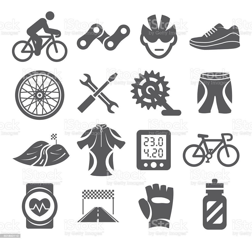 Biking icons vector art illustration