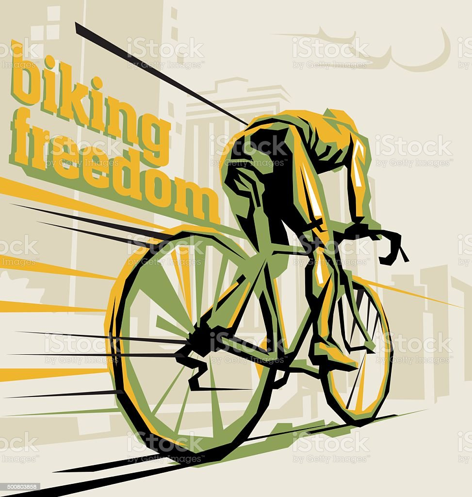 Biking illustration. Layered cycling vector. vector art illustration