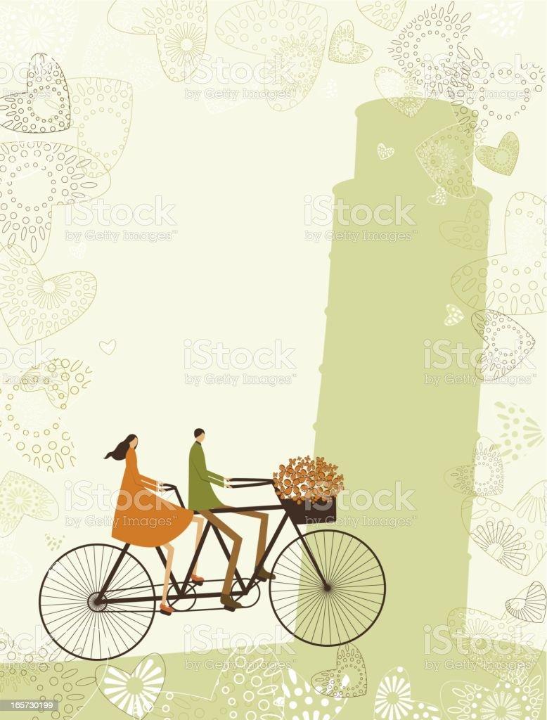Biking lovers in Italy vector art illustration
