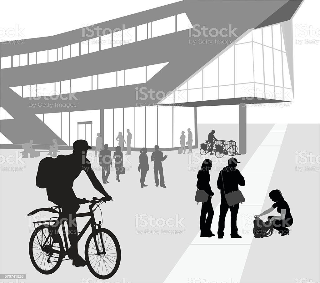 Biking To University vector art illustration