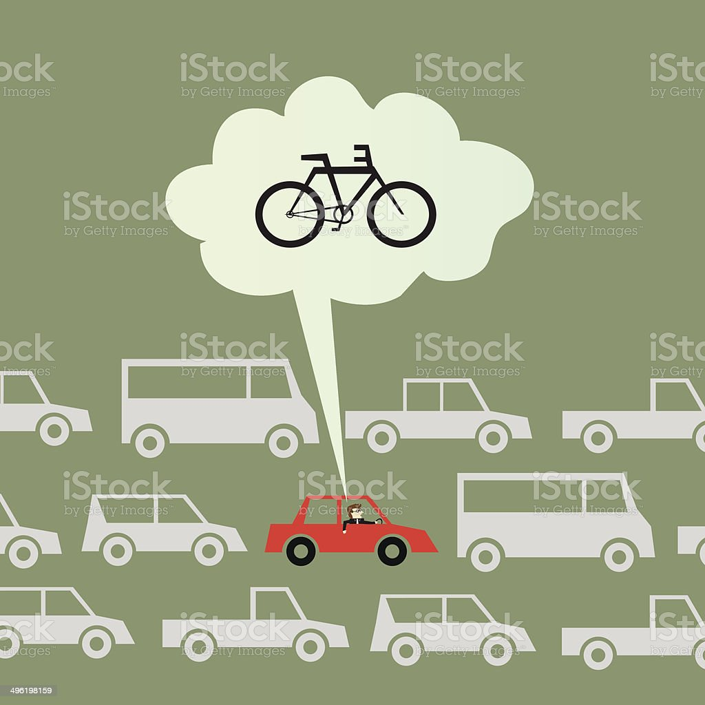Biking to work instead of driving vector art illustration
