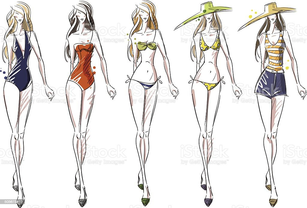 bikini catwalk, fashion illustration vector art illustration