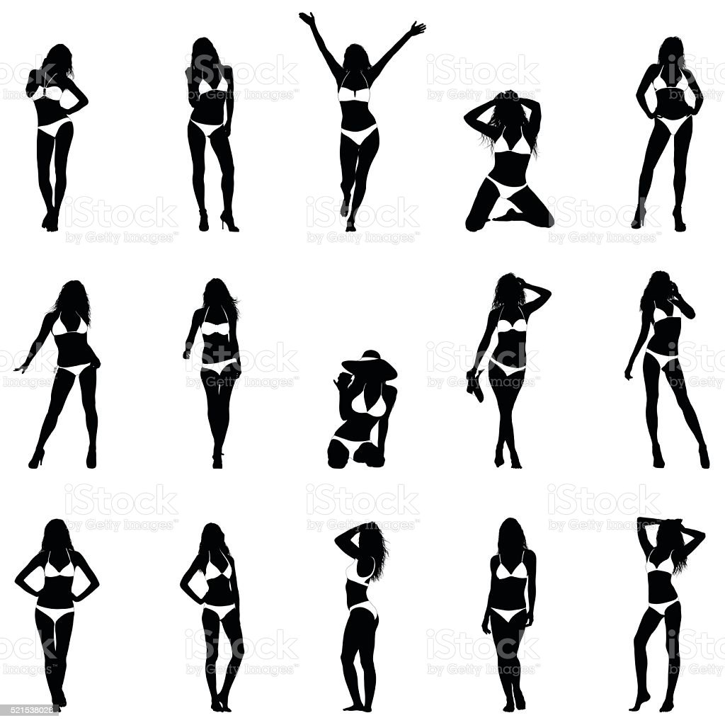 Bikini Girls Black Vector Silhouettes vector art illustration